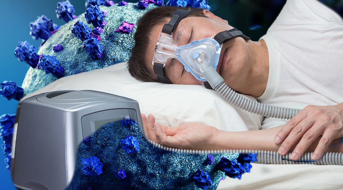 CPAP machine shown in use for treating OSA - IMAGE
